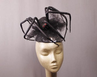 Bad Ass Black Widow Couture Fascinator Hat Halloween 2017 was a  Contest Winner.