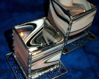 """Black and White """"Baroque"""" Stained Glass Candle Holder with choice of colors"""
