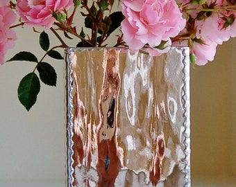 Waterglass Vase Hand Made Stained Glass with SIlvercoat Backing Choice of Size and Colors
