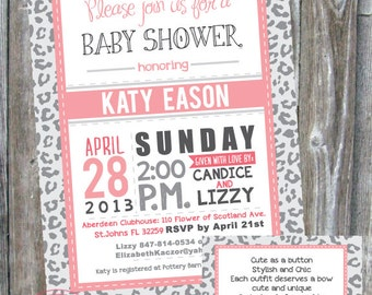 Leopard Baby Shower Invitation - Digital Download