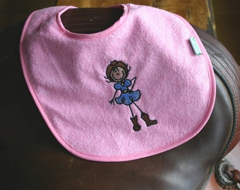 BubbleGum Pink Western Embroidered Baby Cowgirl Bib - Waterproof and PVC free