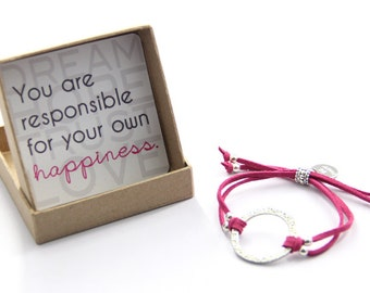 Happiness Bracelet: You are responsible for your own happiness-  Inspirational Dream Hope Trust Love Circle Bracelet, Be Happy Bracelet