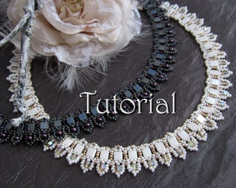 Tutorial for beadwoven tila bead necklace 'To the Point' - PDF beading pattern - DIY