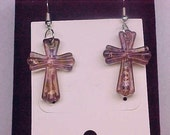 Clearance Sale - Murano glass lampwork Lavender Cross earrings, Cross earrings, dangle earrings