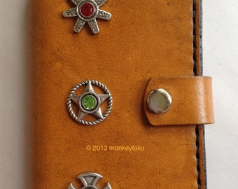 Leather iPhone 5 Case/Wallet  - Happy Cowboy - Chestnut Brown