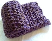 Chunky Crochet Afghan Blanket - Orchid, Lavender, and Coffee