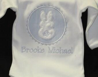 Baby Boy Easter Shirt-Personalized Baby Easter Shirt-Monogrammed Boy Bunny Shirt-Newborn Easter Shirt-