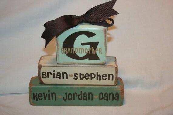 Personalized hand painted Grandmother/Grandfather/Nana/Papa/Mimi/Memere stacking wood block shelf sitter