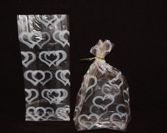 Cellophane White Hearts On Clear Treat Goodie Party Favor Gift Bags 10 Pack
