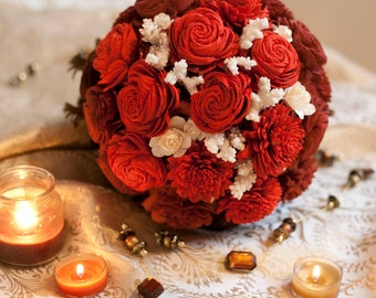 Red Ombre Bouquet with Sola Flowers