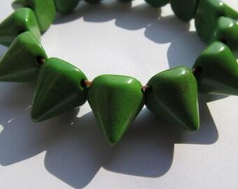 FREE SHIP-- batch turquoise gemstone sharp spikes cone green assortment  jewelry  beads bracelet 14mm--10strands