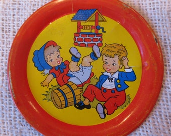 Vintage Jack and Jill Tiny Tin Toy Tray