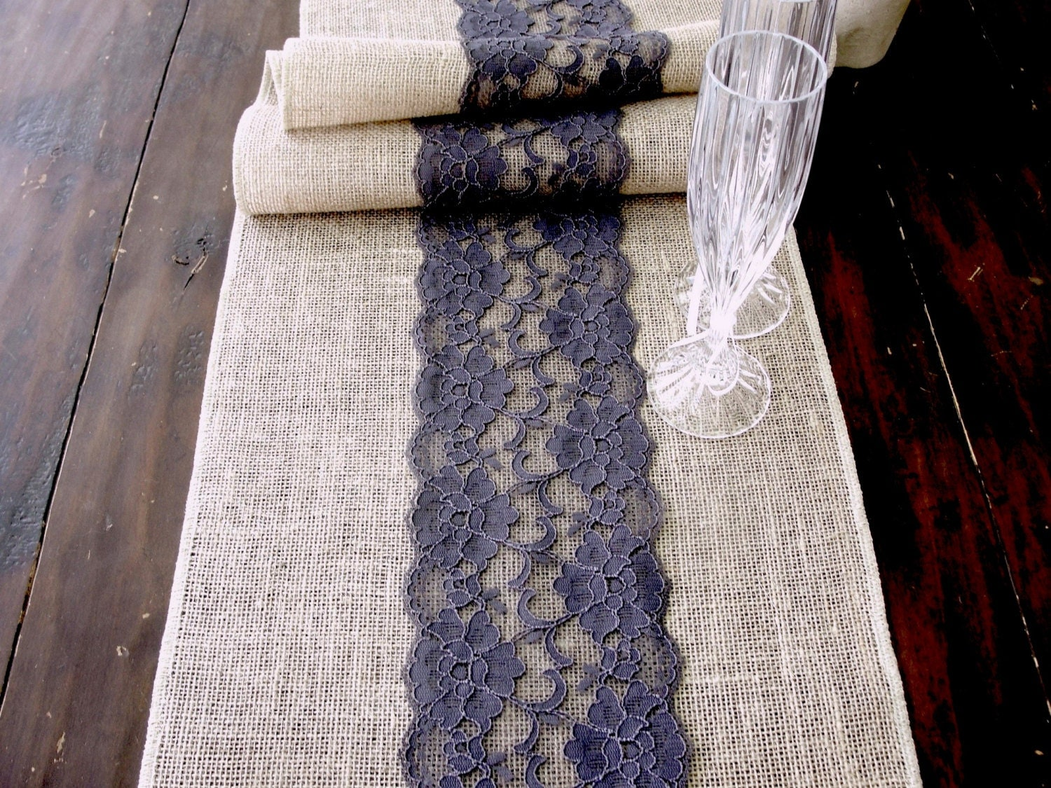 Burlap Table Runner Wedding Table Runner With Embroidered