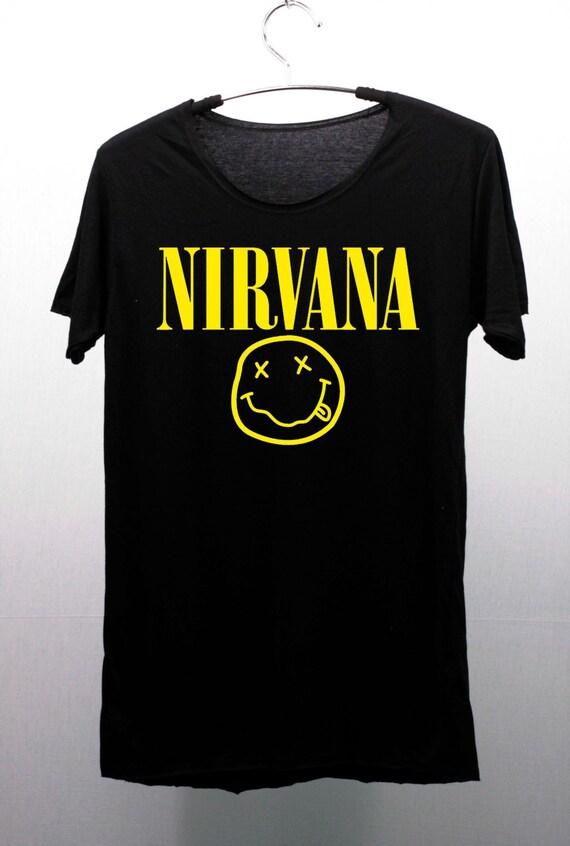 Items similar to nirvana t shirts tee shirt handmade silk for Silk screen t shirt