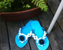 Women and Teen Blue turquoise Flip flop size 7 / sandals / blue turquoise sandals / beach sandals