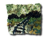 """Hooked Rug Wall Hanging, Rug Hooking, Home Decor, Modern Wall Art, """"Life's Journey"""""""