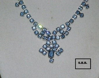 REDUCED! By Gale Creations Ice Blue Rhinestone Necklace, Glamorous & Sophisticated