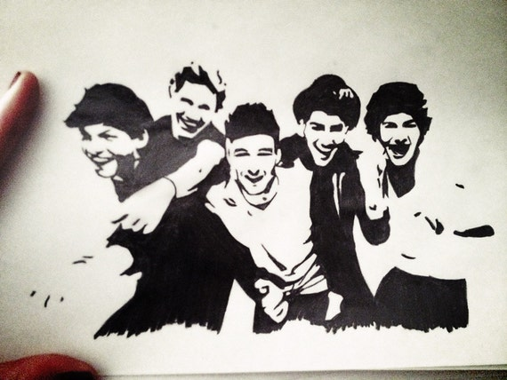 Items similar to One direction (all) pop art pencil ...