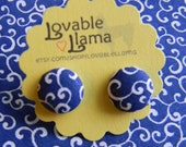 Fabric Button Earrings - Blue with White Swirls