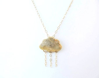 Rain and cloud necklace. Rainy day necklace. Gold filled necklace. Rainy cloud, rainy necklace. Cloud necklace