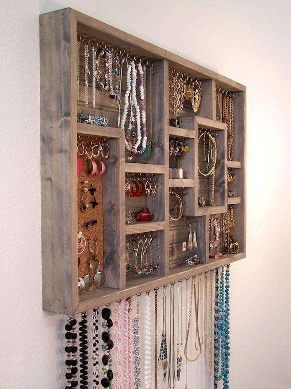 jewelry organizer wall hanging bathroom by barbwireandbarnwood