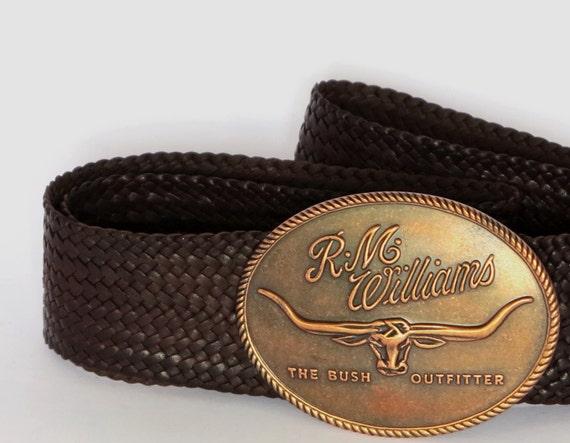 kangaroo leather plaited belt with r m williams buckle