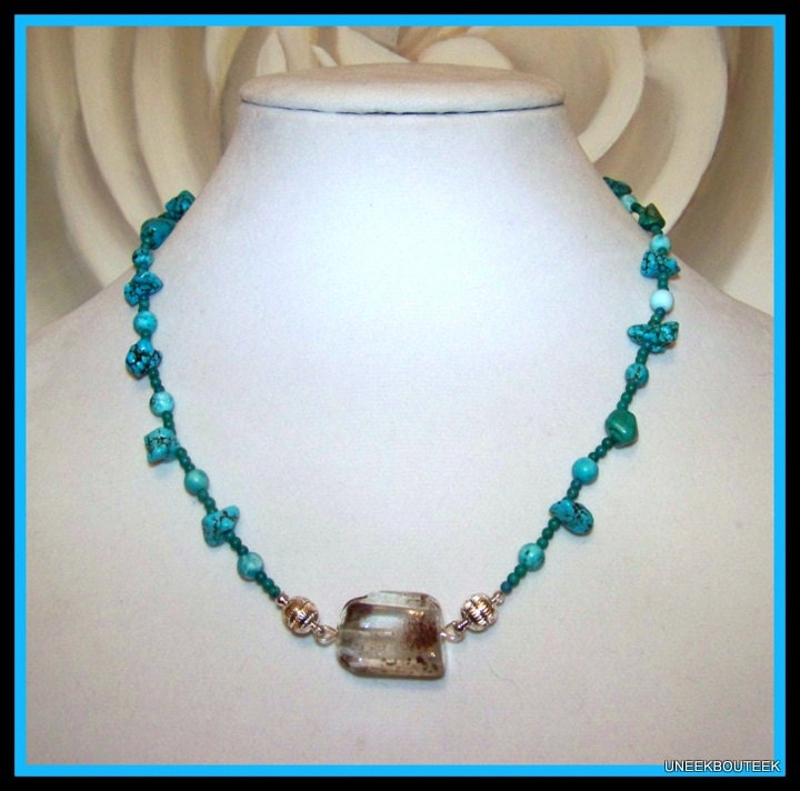 turquoise lodolite changeable pendant necklace magnetic