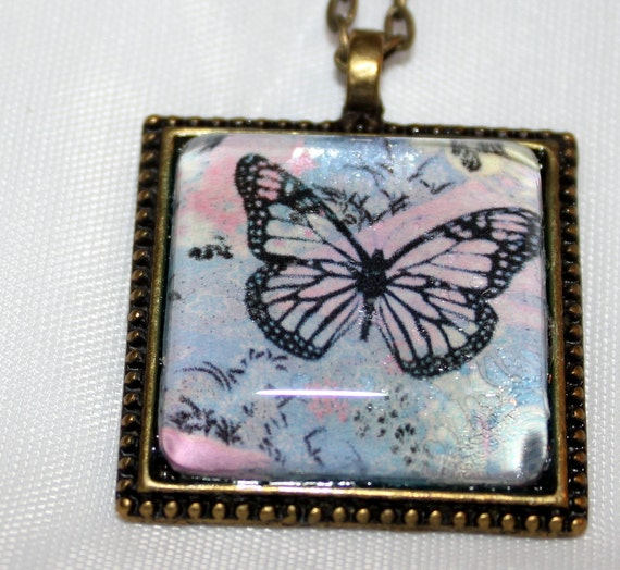 Vintage style Square pendant with photo
