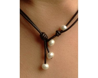 Freshwater pearl necklace, leather and pearls, leather and pearl jewelry, freshwater pearl necklace, pearls on leather,