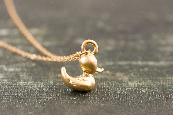 Gold Duck Necklace Gold Filled Rubber Ducky Tiny Small