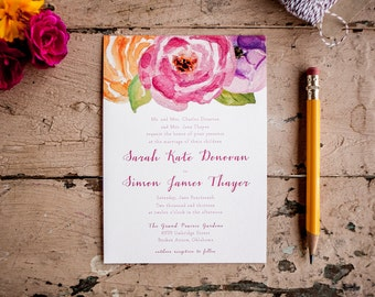 Boho Wedding Invitation Floral wedding invitation Painted Wedding Invitation Rustic Wedding Invitation flowers pink eco - The Ranunculus