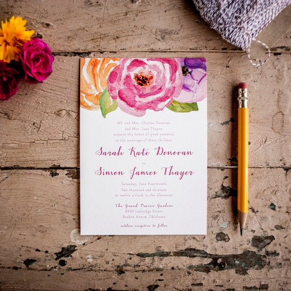 Boho Wedding Invitation Floral wedding invitation Painted Wedding Invitation Rustic Wedding Invitation flowers pink eco - The Ranunculus