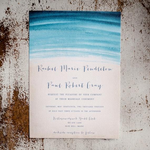 Watercolor Wedding Invitation, Rustic Wedding Invitation, wedding invitation, beach wedding invitation, nautical wedding - Watercolor Waves