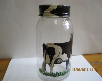 Crown Imperial quart jar with Hershey cow painted on it