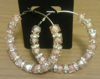 Basketball wives and love and hip hop inspired 70mm hoop with clear pink bead and crystal-like spacers