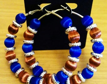Love and Hip Hop and Basketball wives inspired hoop with brown and blue beads