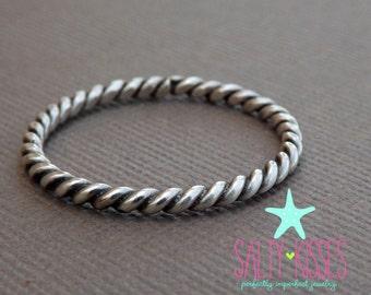 Sterling silver twist rope stacking ring anchor nautical