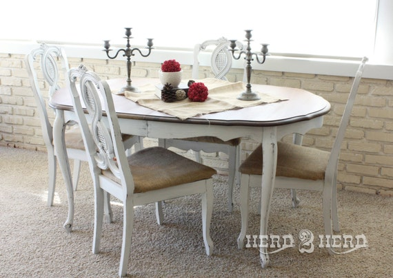 30% OFF - Shabby Chic White Table and Chairs