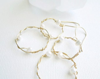 Gold Hoop Earrings, Freshwater Pearl Earrings, Wire Wrapped Earrings