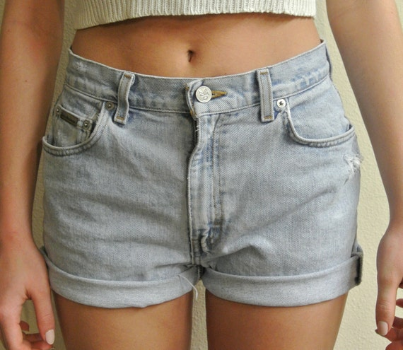 High Waisted Shorts Calvin Klein Cuffed Denim Shorts Milky