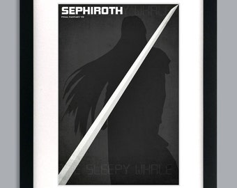 12 x 18 Final Fantasy 7 Inspired Minimalist Sephiroth Poster