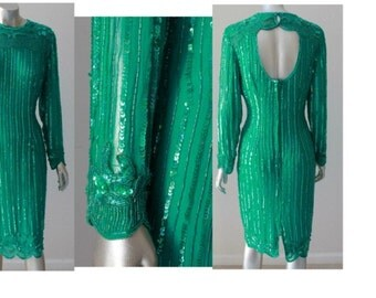 Vintage 1980' s Hand Beaded Emerald Silk Dress