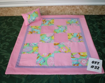 "Easter Egg patchwork, American Girl sized, reversible doll bed quilt 18"" x 21"" with matching pillow 4"" x 6"""