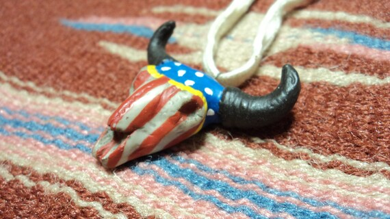 Hand Painted Buffalo Skull - Sioux Pony Soldier  - Miniature Pendant