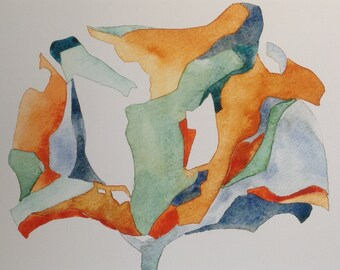 Stylized Flower, oranges and blues, watercolor, small print of original painting