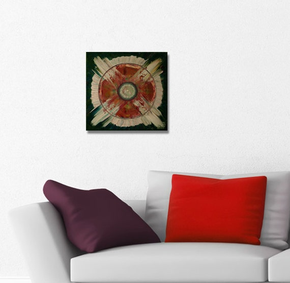 ORIGINAL mandala painting, spiritual art, meditation art, mandala art, green rose