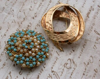 French vintage gild veimeil signed brooch white pearl turquoise bead brooch