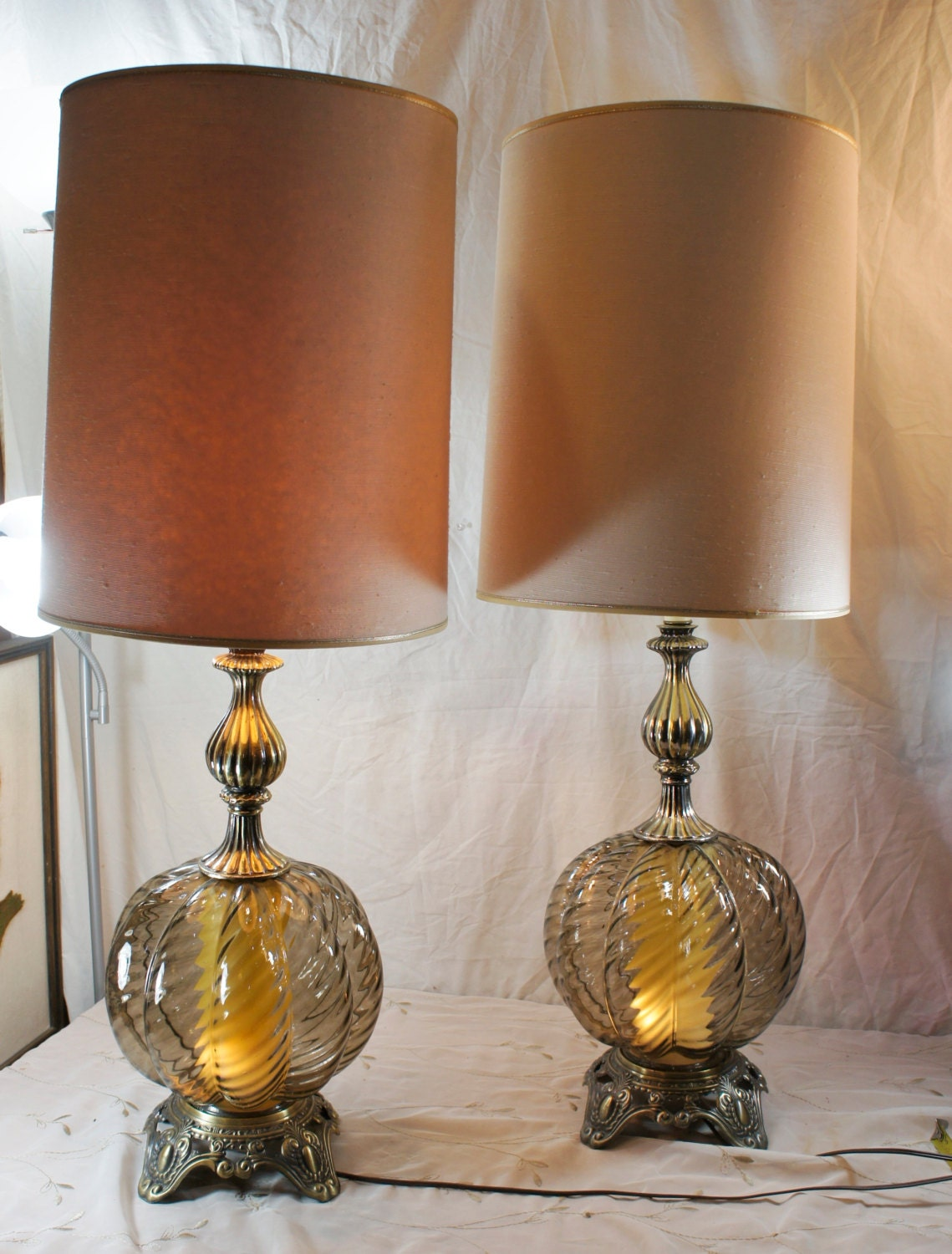 Smoke Glass Hollywood Regency Globe Large Table Lamps Lighting