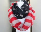American Flag  print  infinity  scarf   great accessory for your outfit