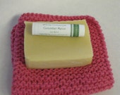 Gift set including soap, lip balm, and hand knit wash cloth